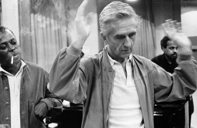 Jazz trumpeter Miles Davis and producer Gil Evans record the album 'Quiet Nights' at 30th Street Studios in August 1962 in New York City, New York.
